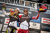 Rachel Atherton & Aaron Gwin Dateiname: DHI-WC-Leogang-2015-WC-Leader_by_Michael-Marte.jpg